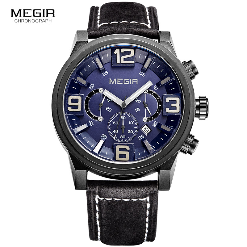 MEGIR new fashion casual quartz watch men large dial waterproof chronograph releather wrist watch relojes free shipping 3010MEGIR new fashion casual quartz watch men large dial waterproof chronograph releather wrist watch relojes free shipping 3010