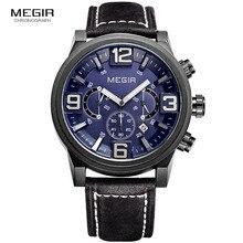 Megir新しいファッションカジュアルクォーツ時計男性大型ダイヤル防水クロノグラフreleather腕時計relojes送料無料3010