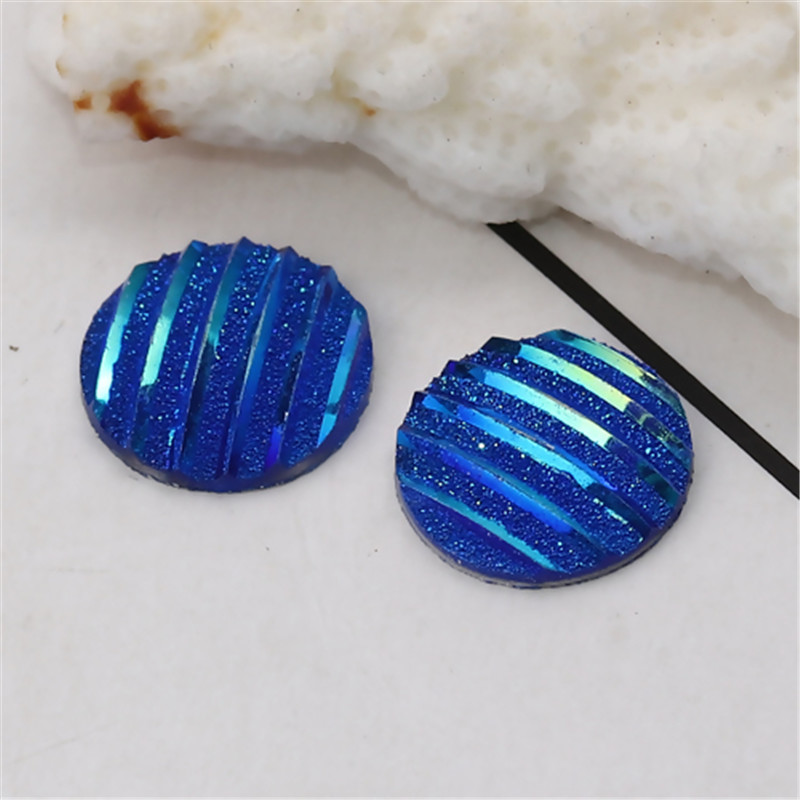 DoreenBeads Resin AB Rainbow Color Aurora Borealis Dome Seals Cabochon Round Blue Stripe Pattern Glitter 12mm Dia, 100 PCs image