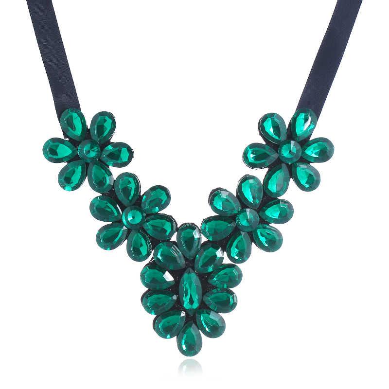 Seblasy מקסי חבל שחור גדול שרשרת יהלומים מלאכותיים שמירה על פרחי קולר שרשראות תליונים לנשים Bijoux תכשיטים בסגנון פשוט