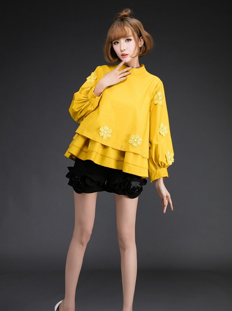 2019 new design girls casual top blouses office lady school girl fashion yellow shirts Korean style