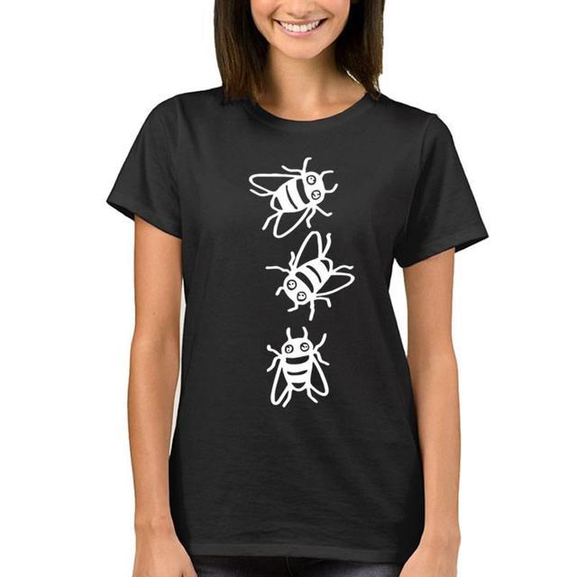 1e3c3817b1a 2018 New Fashion Bee Pattern Shirt Harajuku T-Shirt for Women Funny Top  Femme Punk Camiseta Cactus Female Tshirt Plus Size Tops