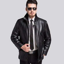 Russia Warm In Winter Men Leather Jacket Solid Color Fashion Casual Slim Fit Thicken Mens Jackets Coat Chaqueta Cuero Hombre