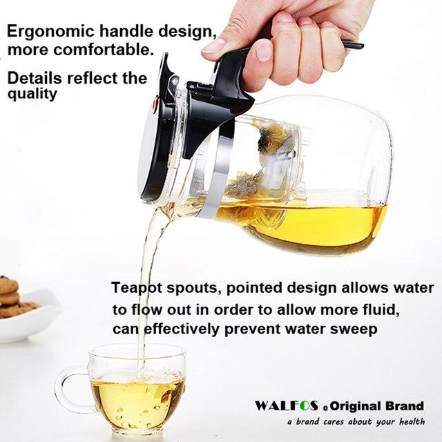 WALFOS High quality Heat Resistant Glass Teapot Chinese kung fu Tea Set Puer Kettle Coffee Glass Maker Convenient Office Tea Pot 4