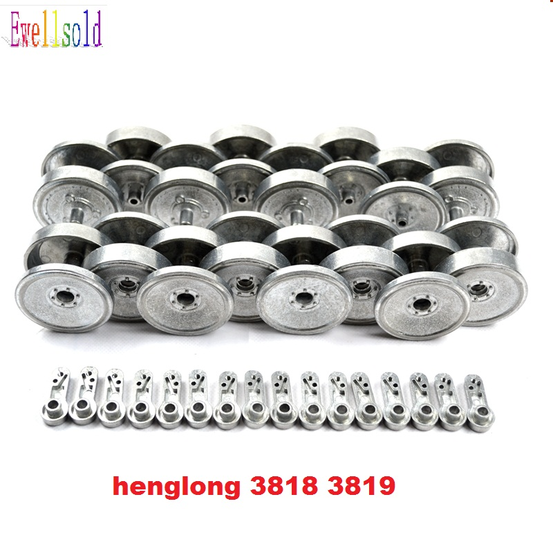 цена на henglong 3818 3818-1 German Tiger I 3819 3819-1 German Panther Snow Leopard 1:16 RC tank upgrade parts metal wheels set