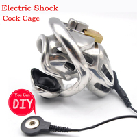 Electric Shock 316 Stainless Steel Male Chastity Device,Electro Shock Cock Cage,Penis Rings,Virginity Lock,BDSM Sex Toys For Men