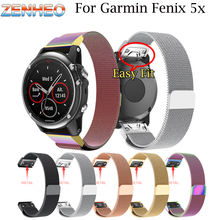 Quick Release Milanese Loop band For Garmin Fenix 5X Watch strap Stainless Steel Link Bracelet watchband 3 Band
