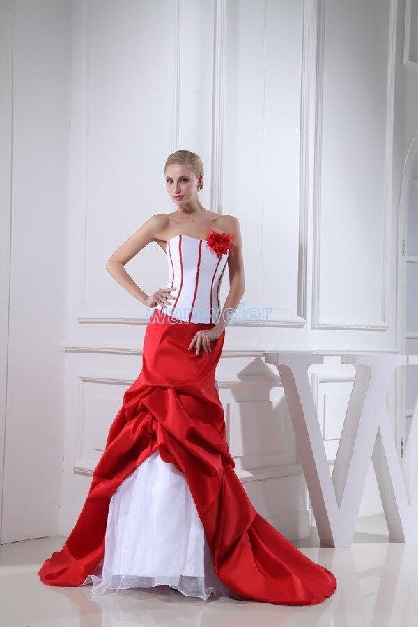 2018 Новый дизайн Виктория Стиль Русалка пользовательские с Поезд рукавов свадебное платье замуж белый и красный Мамам молодожёнов