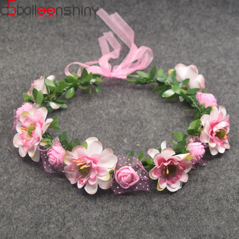 BalleenShiny Baby Girls Crown Flower Wreath Hairband Kids Bridal Floral Headband Women Headwear Accessories For Bridesmaid Tiara