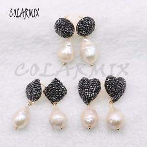 Image 1 - 5 pares de pendientes de perlas naturales geométricas pendientes de perlas naturales pendientes de joyería al por mayor 4556