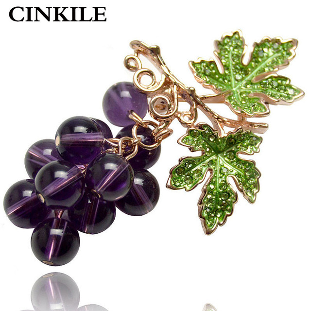 CINKILE Crystal Grape Brooches for Women Cute Luxury Brooch Pin Fashion Jewelry