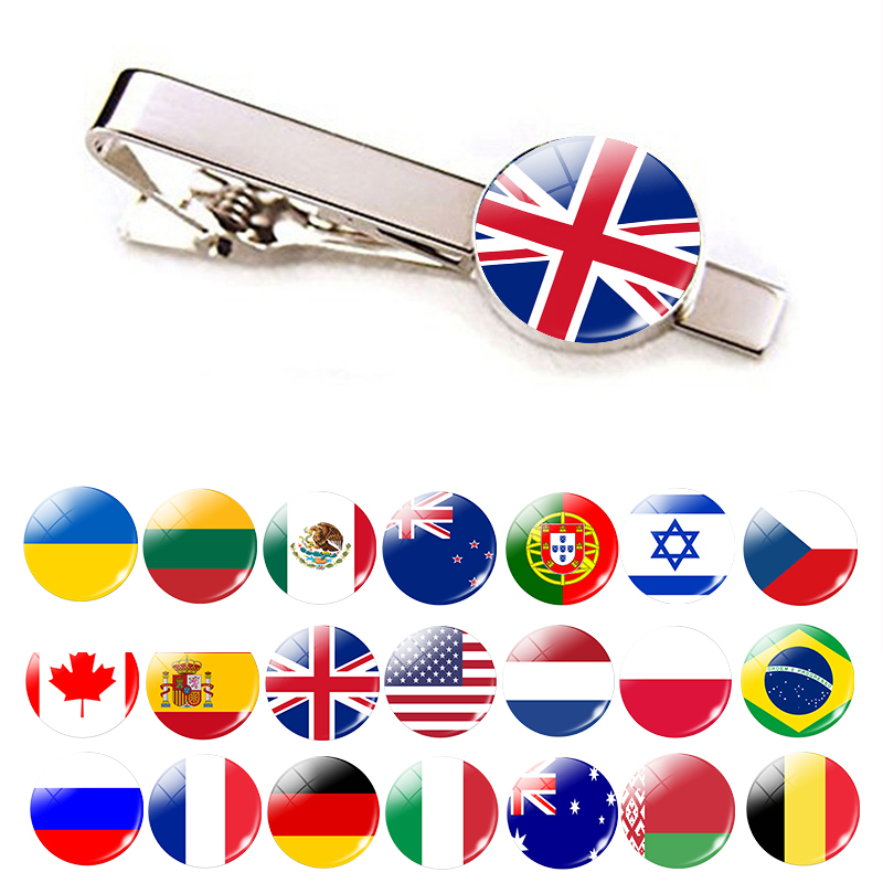 30 Countries National Flag Tie Clips Men Fashion Silver Metal Necktie USA Flag Clip Pins Button Wedding Suit Accessories