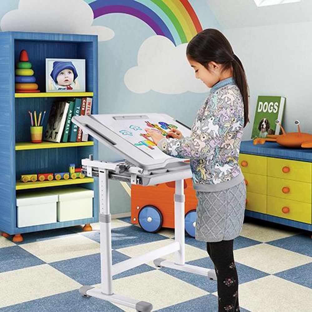 IKayaa altura ajustable chico estudio Silla de escritorio conjunto sostenedor de rollo de papel inclinable niños actividad arte cuadro de marco de Metal