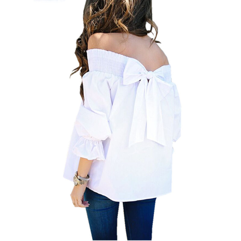 Youyedian Large Size Off Shoulder Shirts Summer Fashion Ladies Puff Sleeve Bow Bandage Blouse Sexy Slash Neck Full Sleeve Blouse Back To Search Resultswomen's Clothing