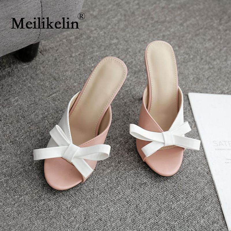 Fashion Woman Sexy Bow Peep Toed White Pink Patchwork Brand Design Sandals Outdoor Stilettos High Heels Open Ladies Summer Shoes