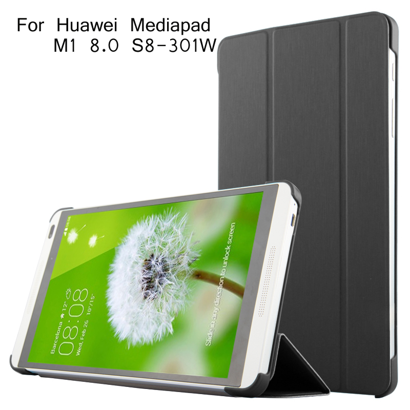 Folding Stand For Huawei M1 Case Tablet Pc Cover For Huawei Mediapad M1 8.0 S8-301W Case + Screen Protector + Good Package mediapad m3 lite 8 0 skin ultra slim cartoon stand pu leather case cover for huawei mediapad m3 lite 8 0 cpn w09 cpn al00 8