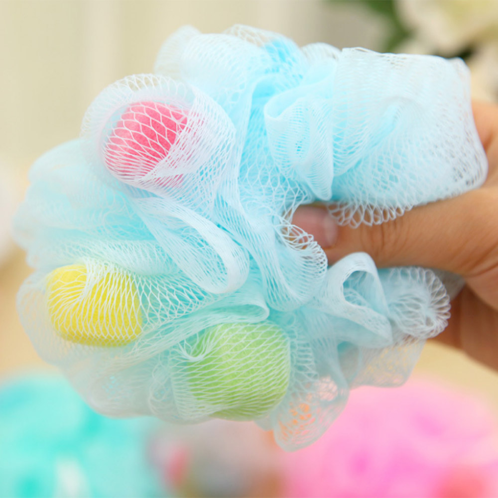 Nylon Bath Ball Bathroom Bath Tubs Tool Flower Ball Bath Colorful Bath Scrubber Body Cleaning Mesh Shower Wash Sponge Random P20