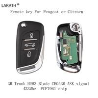 LARATH 3B Flip Remote Key 433MHZ PCF7961 Chip HU83 For PEUGEOT 207 407 406 307 308