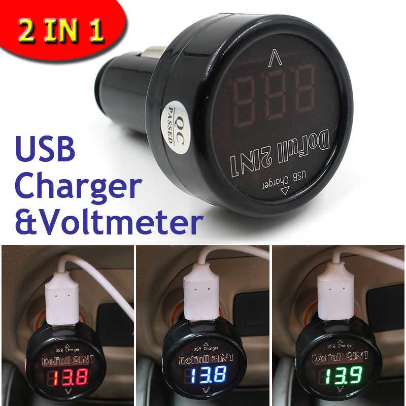 12 V/24 V USB Charger Mobil Tegangan Voltmeter 2 in 1 Digital Meter USB Pengisian Baterai Monitor Layar LED Biru DC 5 V Mobil Telepon