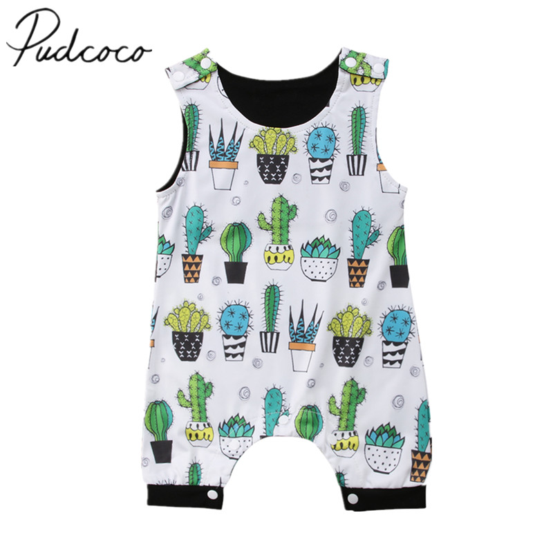 2018 Brand New Newborn Infant Toddler Baby Boy Girl Floral Sleeveless   Romper   Jumpsuit Clothes Cactus Outfit Summer Sunsuit