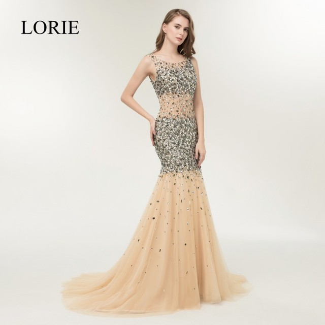 LORIE Bling Mermaid Prom Party Dresses Long 2019 Vestidos Largos Luxury  Crystals Champagne Evening Gowns Sexy Women Formal Dress b7751a3a8360