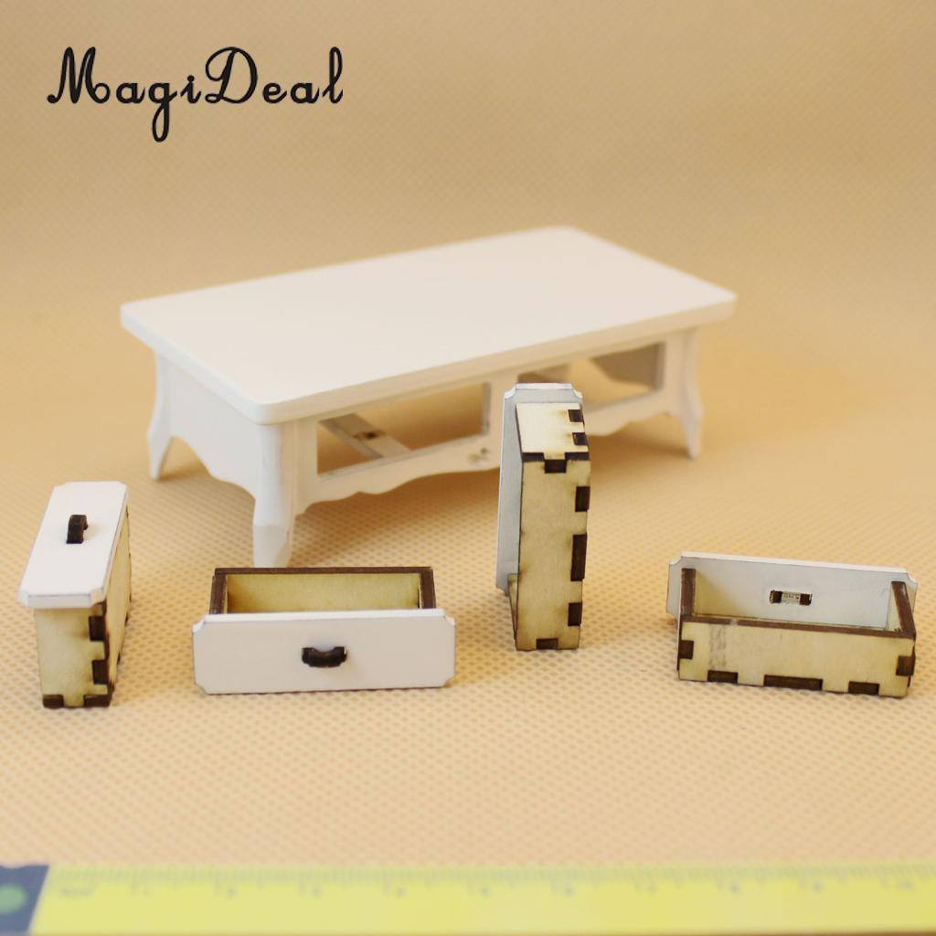 Furniture Toys Pretend Play Magideal Top Quality 1pc Dollhouse Miniature White Wooden Coffee Tea Table With 4 Drawers For Kitchen Dining/living Room Acce Crazy Price