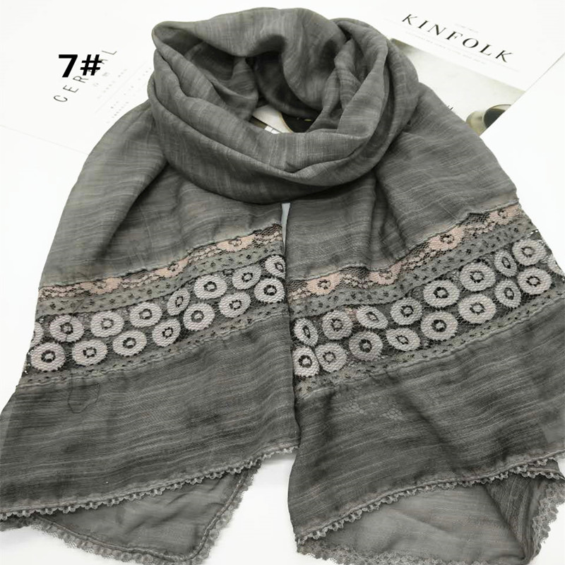 floral lace polyester cotton shawls hijab autumn popular wrap head muslim headband scarves