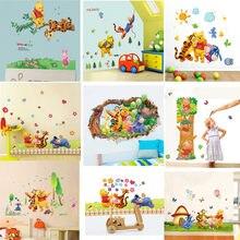 Cartoon Winnie de Pooh en vrienden muurstickers voor kinderen kamers decals decoratieve pvc muur art behang kinderkamer Decor