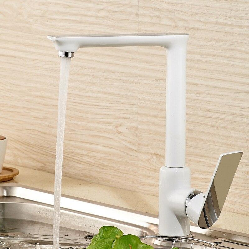 White Painted Kitchen Faucet Black Kitchen Faucet Chrome Brass Kitchen Mixer 360 Swivel Kitchen Sink Tap