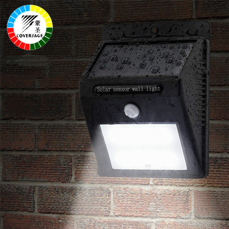 Coversage 12 LED Solar Outdoor Iluminacion Luz Auto Motion Light Sensor Waterproof IP64 Led Energy Wall Lights Garden Porch Lamp