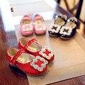 Botas de cuero del resorte zapatos de la escuela para las niñas 2016 Rhinestone de las muchachas lindas princesa party kids color rosa de color rojo