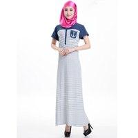 Short Sleeve Striped Long Saudi Dress Modern Islamic Clothing Muslim Woman Dress