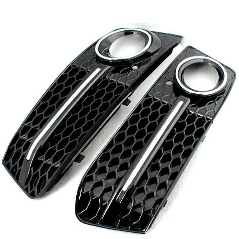 A4 B8 Black Front Fog Light Frame Cover Mask Trim For Audi A4 B8 Sedan Non-sline 09-12 неокрашенный задний багажник спойлер крыла для audi a4 b8 sedan 09 12 ca стиль