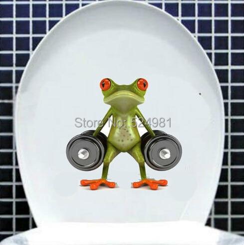 Fashion Toilet Sticker   Cute Green Frog Toilet Sticker  Wall Sticker Home Decor  Bathroom Decor