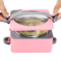 KCASA Creative Portable Hot Water Heating Lunch Boxes Kids Bento Lunchbox Container Bowls Outdoor Food Tableware