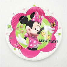 10pcs/set 7inch Minnie Mouse Plate Children Party Supplies Theme Kids Funny Hot Birthday Party Decoration