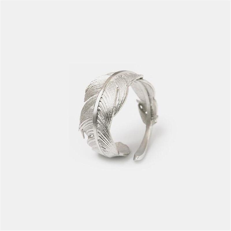 Flyleaf 925 Sterling Gümüş lələk Açıq üzüklər Qadınlar - Moda zərgərlik - Fotoqrafiya 3