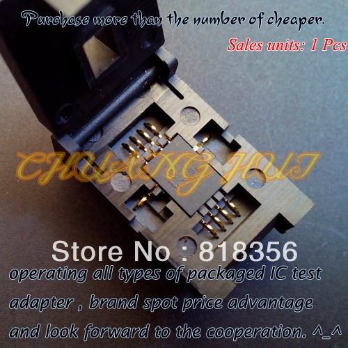 ФОТО QFN8 Test Socket WSON8 MLF8 DFN8 Socket(Flip test seat) Pitch=1.27mm Size=6x8mm