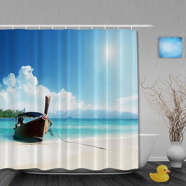 Seaside Boat Bathroom Shower Curtains Sky Cloud Curtain Waterproof Polyester Fabric Custom Hooks