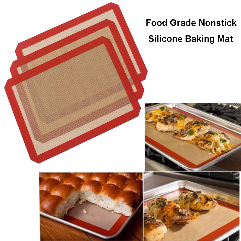 4pcs Large Size Nonstick Silicone Baking Mat Heat Resistant Glass Fiber Dough Rolling Sheet Pad For Cake Liner Pastry