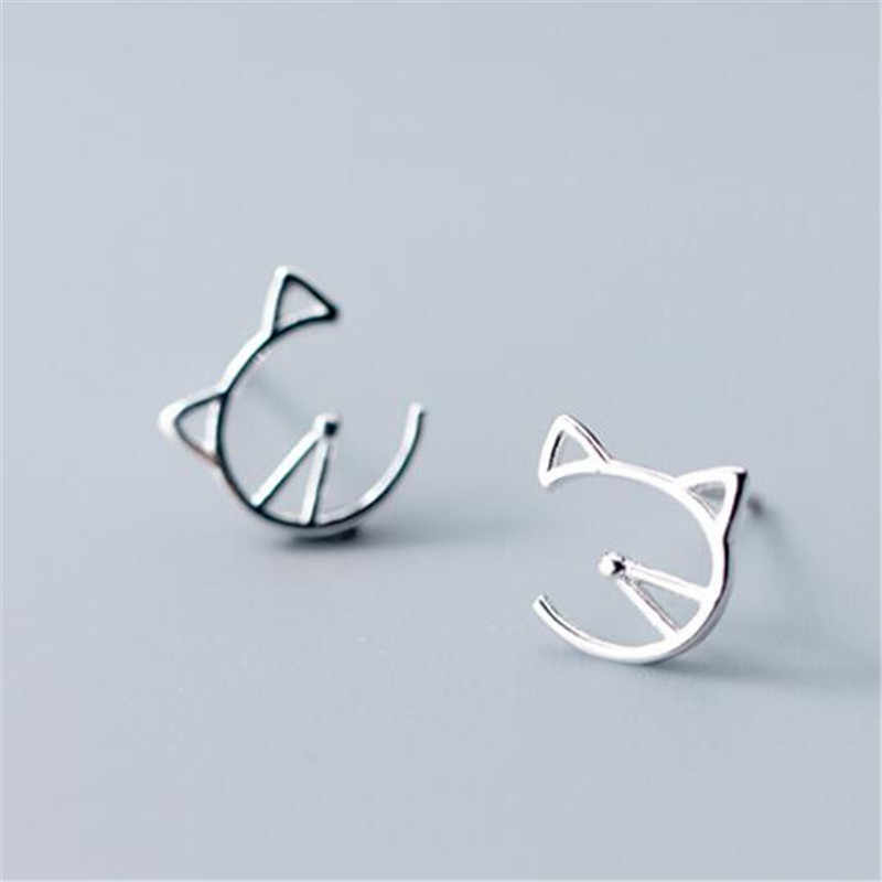 100% 925 Sterling Silver Cut Cat Stud Earrings For Women School Girls Wedding Gift Personalise Jewelry Bijoux EH821