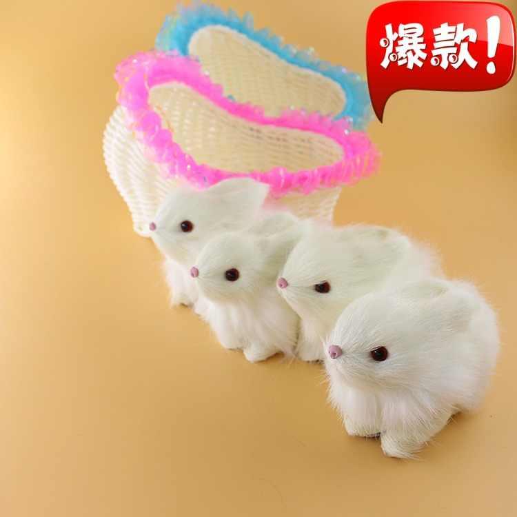 Имитация милого кролика модель полиэтилена и меха две маленькие кролики в одном 17x11 см корзина домашний декор реквизит, модель подарок d588