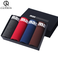 4Pcs Lot Cajerin Brand Cotton Mens Underwear Boxer Shorts Men Sexy Boxer Ventilate Plus Size Soild