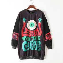 New 2016 Harajuku Emoji Women Sweatshirt Long Design Cartoon Hip Hop Hoodies Moletom Printing Femme For Women