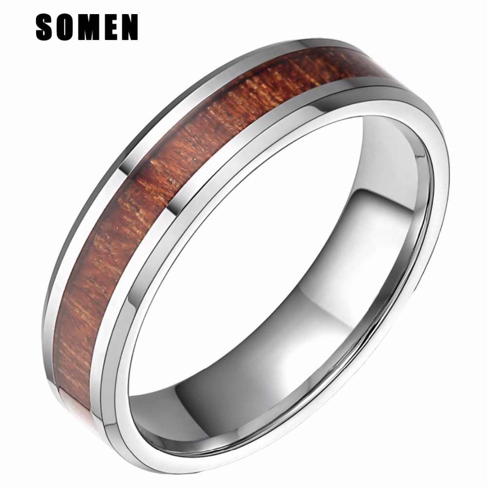 6MM Red Wood Inlay Silver Tungsten Carbide Ring Wedding