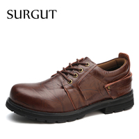 SURGUT Brand Waterproof Casual Men Shoes Cow Split Leather 2017 Fashion Top Quality High Cut Male