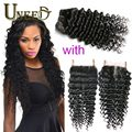 Virgin Indian Deep Curly Hair with Closure Queen Hair Products Indian Deep Wave with Closure Raw Indian Human Hair with Closure