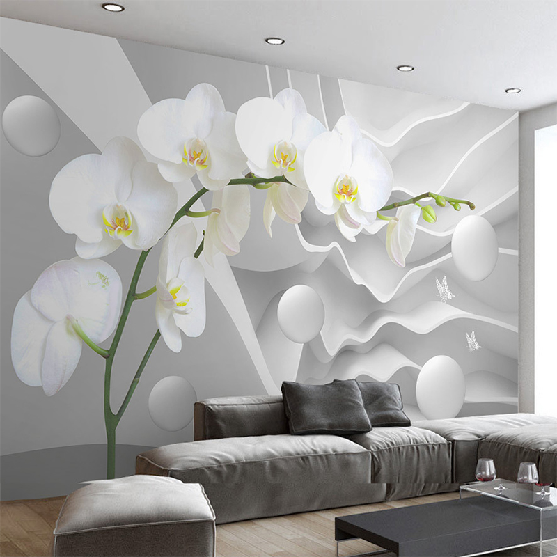 Custom Modern 3D Space Phalaenopsis Flower Photo Wallpaper Mural Living Room Room Sofa Background Wall Decor 3D Wall Cloth Roll