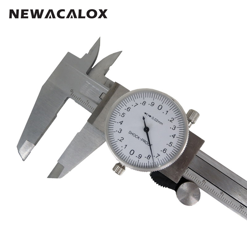 NEWACALOX Metric Gauge Measuring Tool Dial Caliper 0-150mm/0.02mm Shock-proof Stainless Steel Precision Vernier Caliper dial caliper 0 200mm 0 02 metric stainless steel shock proof measurement gauge calipers