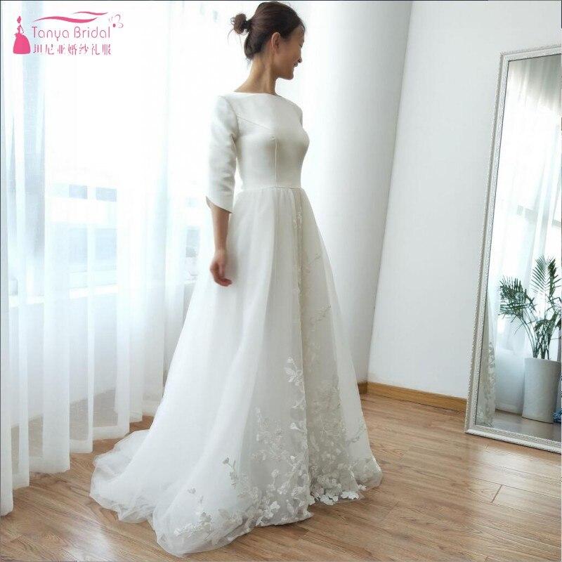 Half Sleeve A Line Wedding Dresses 2018 Beach Late Summer Turkey Abiti Da Sposa Lace Appliques